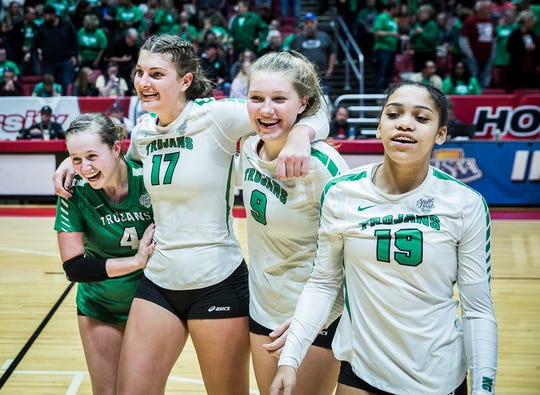 New Castle celebrates during their state final game against Northview at Worthen Arena Saturday, Nov. 3, 2018.
