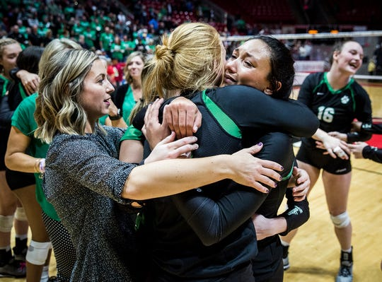 Yorktown celebrates their state final win over Avon at Worthen Arena Saturday, Nov. 3, 2018.