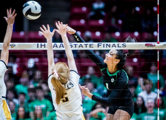 Yorktown's Kenzie Knuckles, shown going for a kill in the state championship against Avon, was named the Gatorade Player of the Year for volleyball in Indiana.
