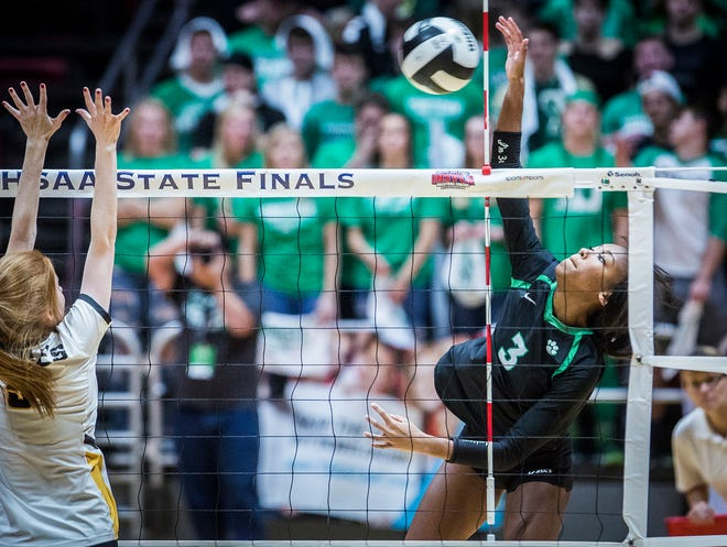 FILE -- Outside hitter Courtney Watkins spikes a ball during Yorktown's 3-0 defeat against Avon during the 2018 Class 4A state final game at Worthen Arena. The Tigers are a perfect 11-0 to start this season, continuing its success from a 34-0 record from last year.