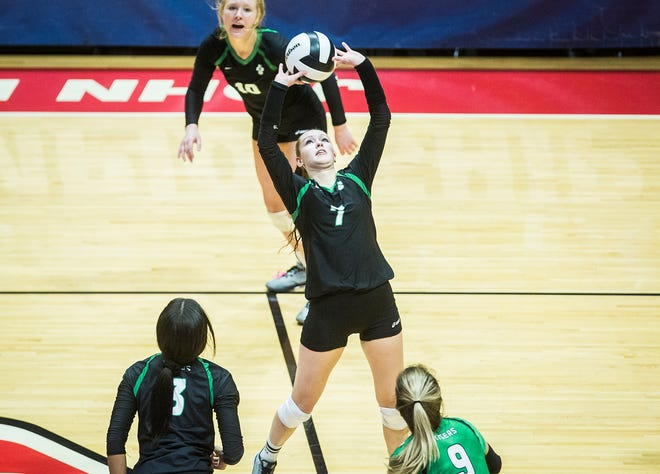 FILE -- Yorktown's Kate Vinson competes against Avon during their state final game at Worthen Arena on Nov. 3, 2018. Vinson reached 2,000 career assists during Yorktown's win Thursday against Burris.