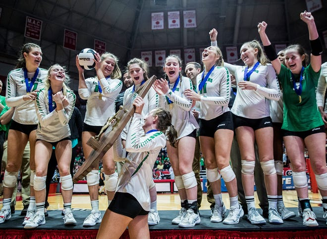 New Castle celebrates its second straight state championship victory over Northview on Saturday, Nov. 3, 2018.