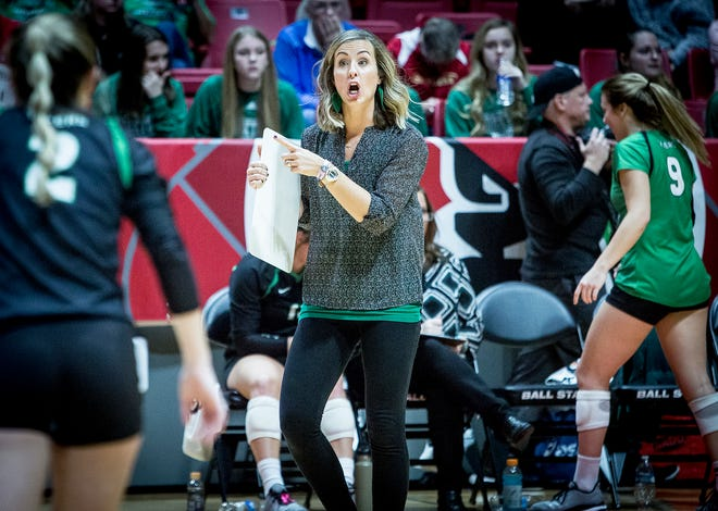 Yorktown's Stephanie Bloom coaches against Avon during their state final game at Worthen Arena Saturday, Nov. 3, 2018.