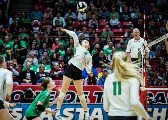New Castle's Mabrey Shaffmaster hits during their state final game against Northview at Worthen Arena Saturday, Nov. 3, 2018.