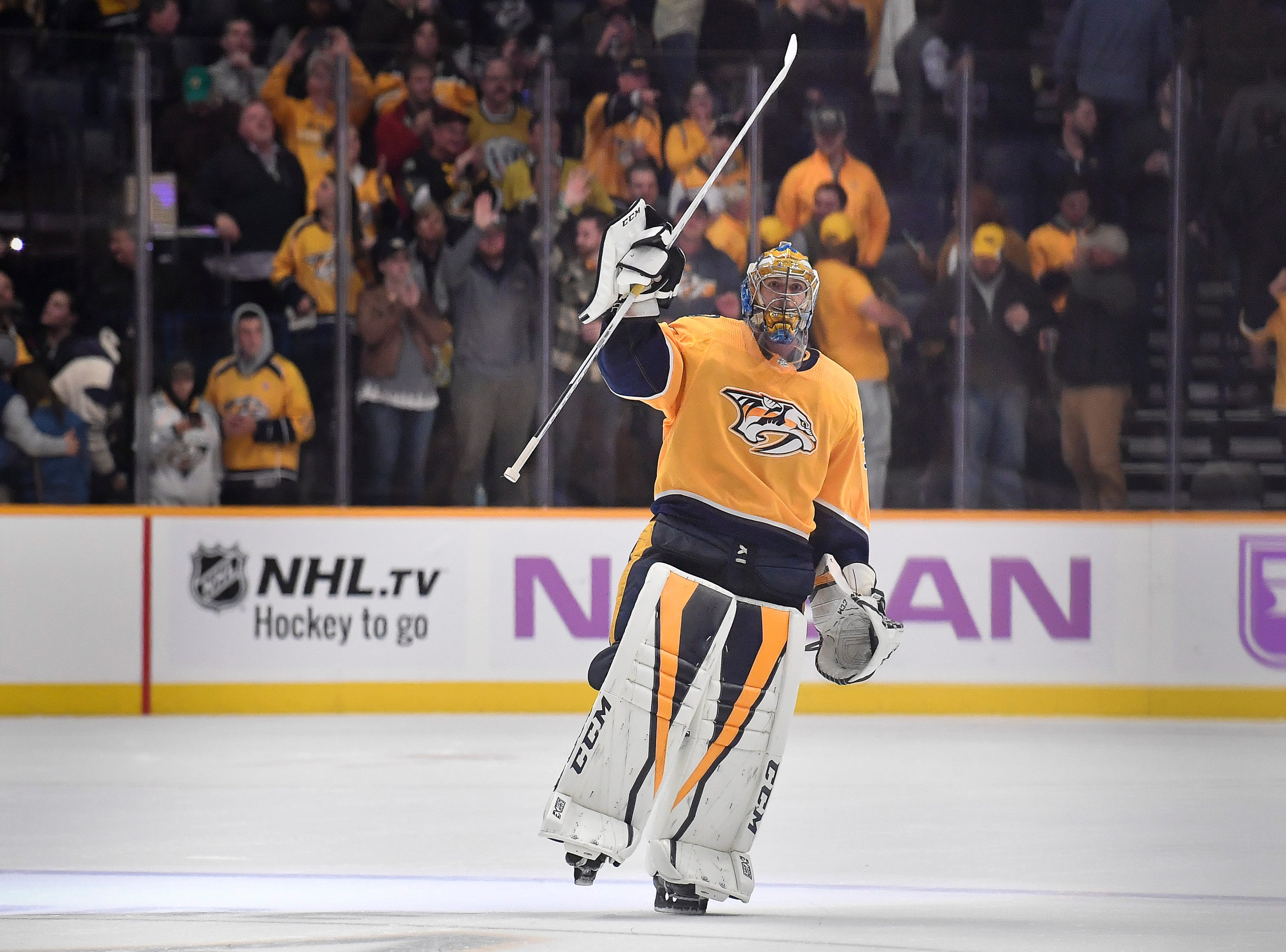 Nov. 3: Predators 1, Bruins 0 -- Predators goaltender Pekka Rinne (35) salutes the crowd after his 1 to 0 win against the Bruins at Bridgestone Arena Saturday, Nov. 3, 2018, in Nashville, Tenn.