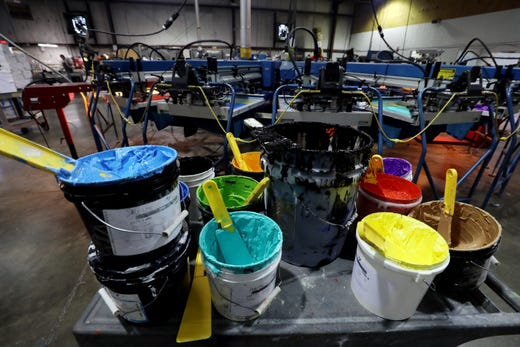 2c14d2d2 A variety of ink colors in use at Something Inked's production facility  Friday, November 2