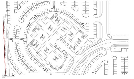The proposed site plan for The Point, a cluster of restaurants and shops on the southeast corner of Immokalee Road and Collier Boulevard.