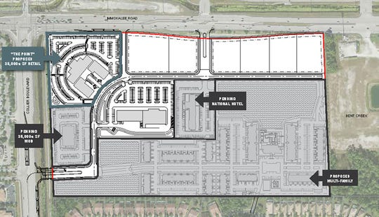 Proposed plans for the former Pelican Nursery property on the southeast corner of Immokalee Road and Collier Boulevard include The Point restaurant and shops, a national hotel, an organic grocer, a medical office building, multifamily housing and a half-dozen outparcels.