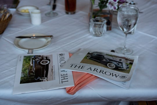 Pierce-Arrow Society magazines lie on the lunch table at Wilderness Country Club in Naples on Sunday, Nov. 4, 2018.