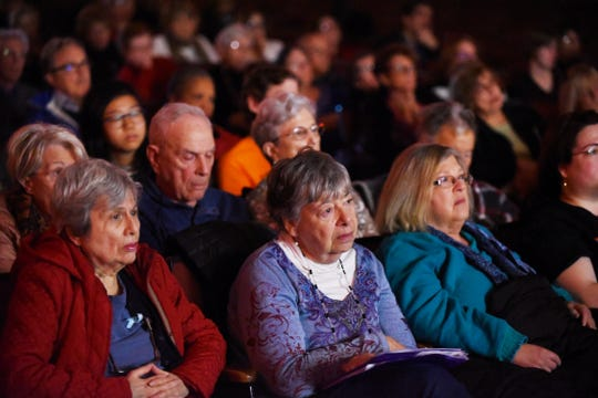 """Participants watch the movie """"101 Seconds"""" during the Teaneck International Film Festival at Benjamin Franklin Middle School  on 11/4/18."""