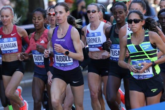 Molly Huddle runs to fourth place at the 2018 New York City Marathon.