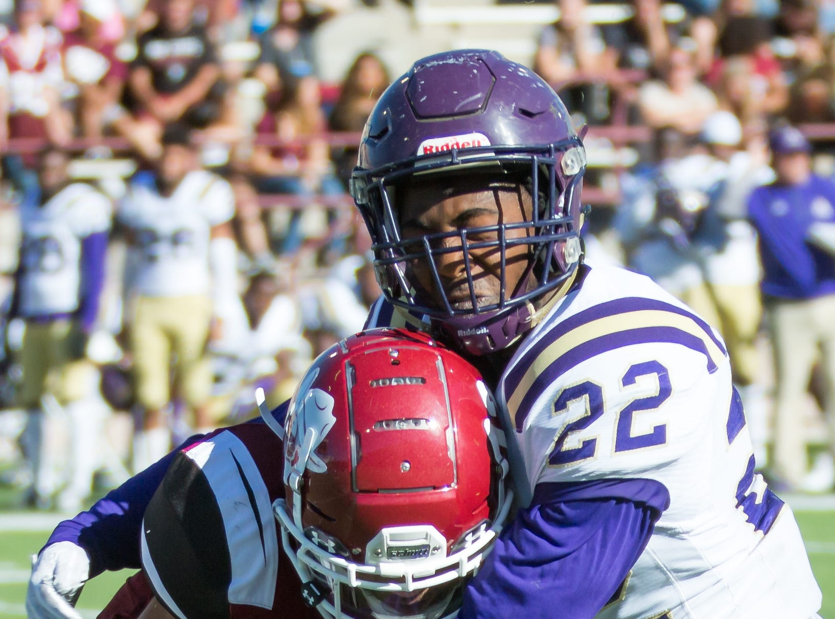 Alcorn State's Taurence Wilson makes the stop on New Mexico State Universtiy's Johnathan Boone on Saturday, Nov. 3, 2018 at Aggie Memorial Stadium,