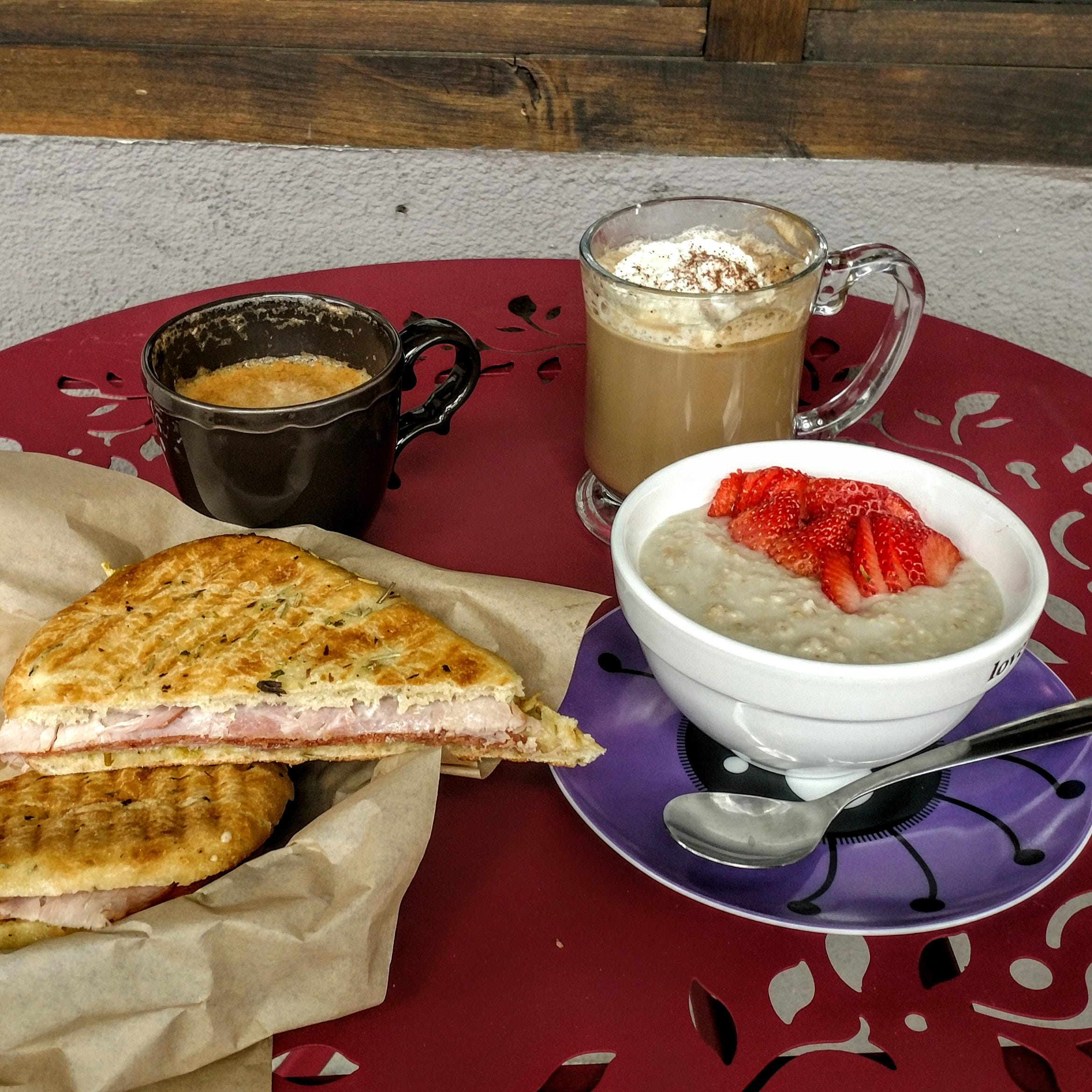 Grab some friends, then grab some grub and a cup of joe at Moms Coffee