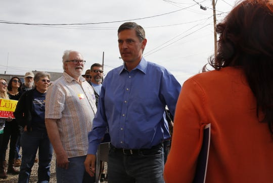 U.S. Sen. Martin Heinrich, D-N.M., walks to a campaign event Sunday at the Democratic Party headquarters in Farmington.