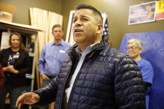 U.S. Rep. Ben Ray Lujan, D-N.M., addresses the crowd Sunday during a campaign stop at the Democratic Party headquarters in Farmington.