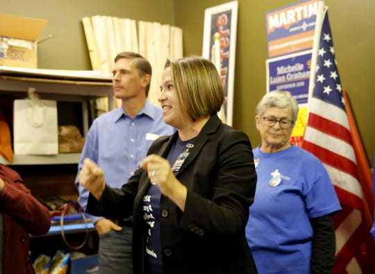 Candidate Stephanie Garcia Richard speaks Sunday during a campaign event in Farmington.