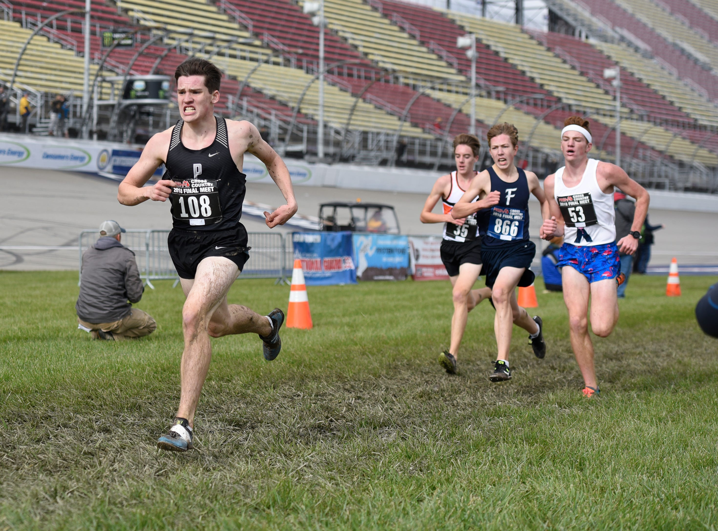 Plymouth's Patrick Barnes during the Division 1 2018 cross country finals at Michigan International Speedway.