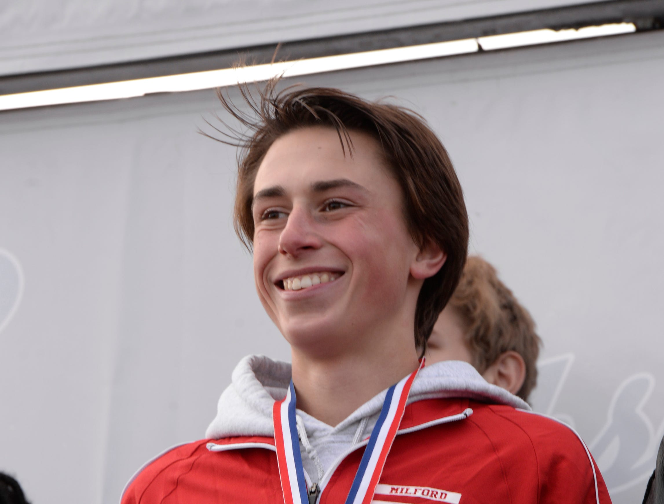 Milford's Evan White finished in sixth place with a time of 15:46.4 at the Division 1 2018 cross country finals at Michigan International Speedway.