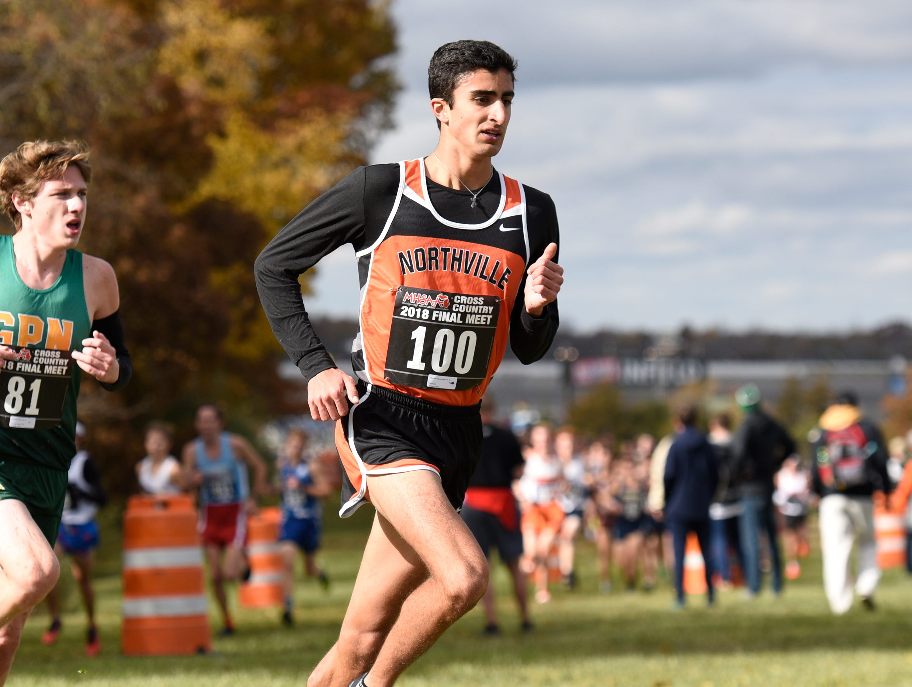 Northville's Nicholas Couyoumjian during the Division 1 2018 cross country finals at Michigan International Speedway.