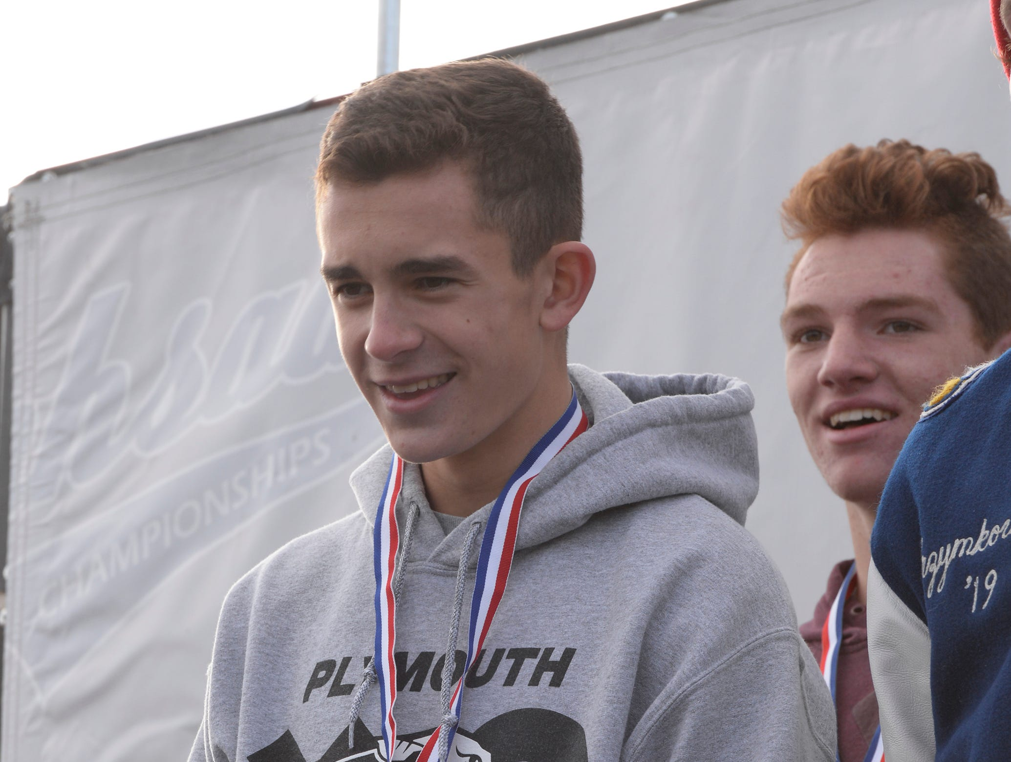 Plymouth's Carter Solomon finished second with a time of 15:18.1 at the Division 1 2018 cross country finals at Michigan International Speedway.