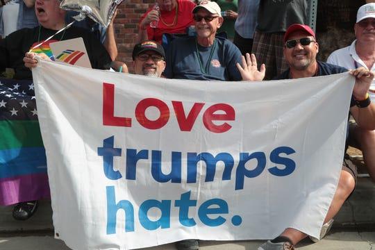 Thousands celebrate LGBTQ pride at the annual Palm Springs Pride Parade, Palm Springs, Calif., Sunday, November 4, 2018.