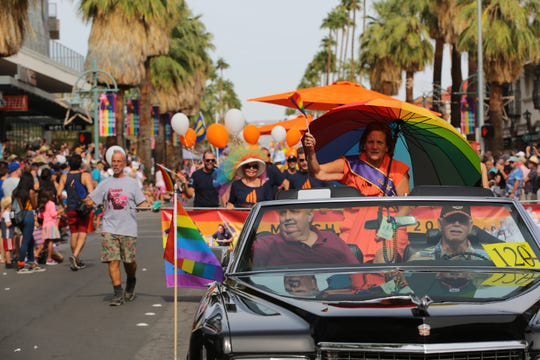 Thousands celebrate LGBTQ pride at the annual Palm Springs Pride Parade, Palm Springs, Calif., Sunday, November 4, 2018.