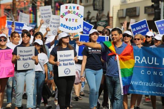 Congressman Dr. Raul Ruiz attends the annual Palm Springs Pride Parade, Palm Springs, Calif., Sunday, November 4, 2018.