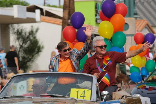 Mayor Robert Moon rides in the annual Palm Springs Pride Parade, Palm Springs, Calif., Sunday, November 4, 2018.