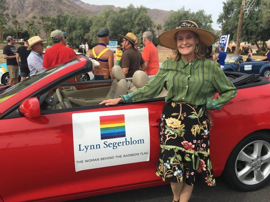 Lynn Segerblom is one of several people who helped create the rainbow flag in 1978. She participated in the Palm Springs Pride parade for the first time.