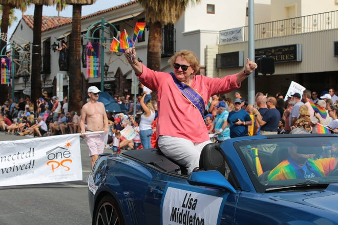 Councilwoman Lisa Middleton rides in the annual Palm Springs Pride Parade, Palm Springs, Calif., Sunday, November 4, 2018.