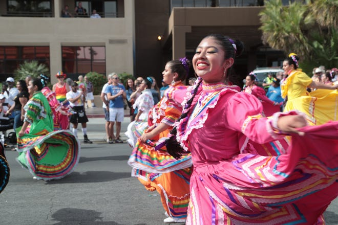 The Cathedral City High School Ballet Folklorico performs in the annual Palm Springs Pride Parade, Palm Springs, Calif., Sunday, November 4, 2018.
