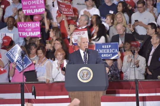 President Donald Trump speaks at a rally Saturday, Nov. 3, 2018, at the ST Engineering hangar at the Pensacola International Airport.