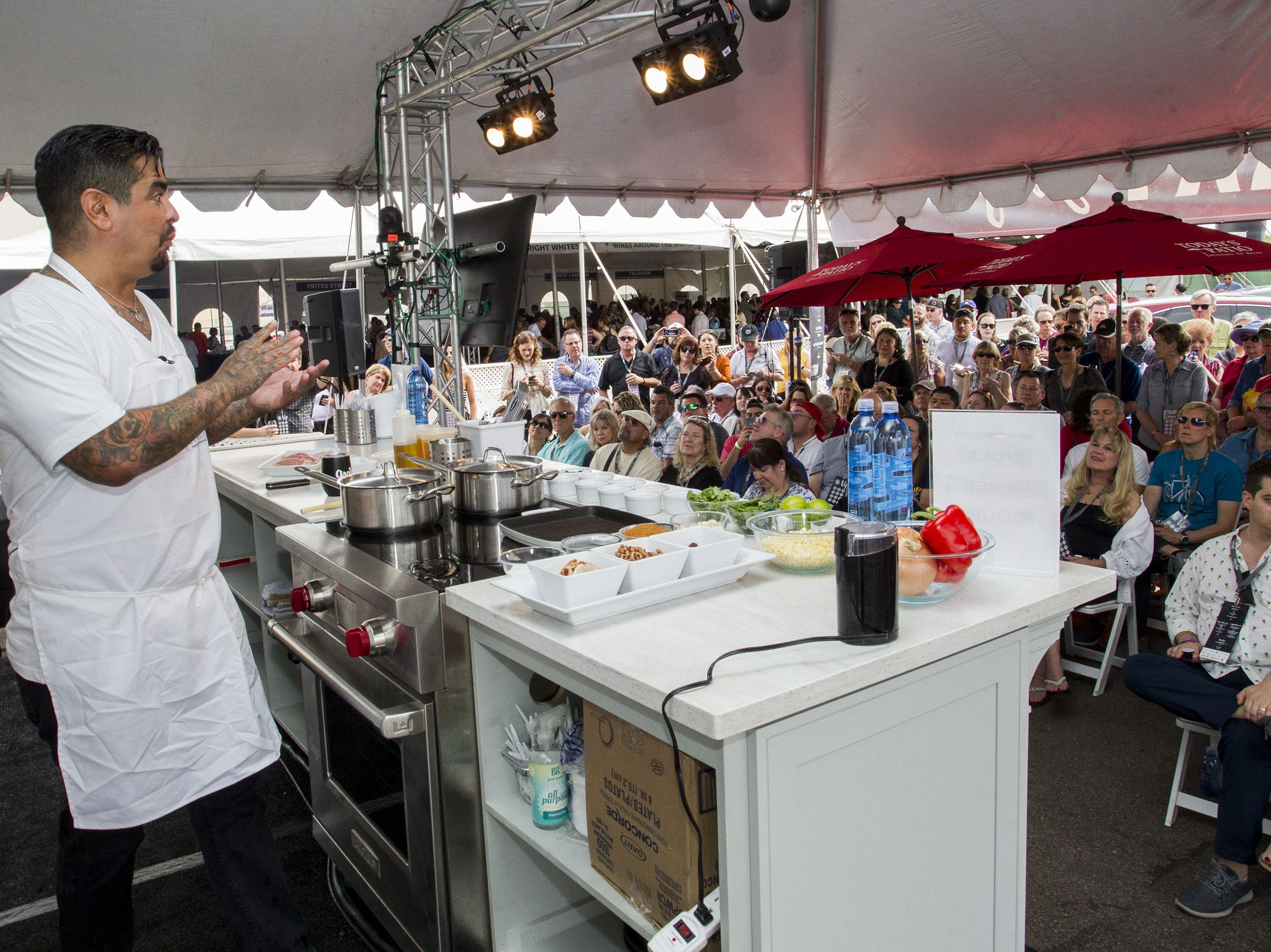 Chef Aarón Sánchez entertains the crowd gathered at the Culinary Stage during the azcentral Wine & Food Experience at WestWorld of Scottsdale, Sunday, Nov. 4, 2018.
