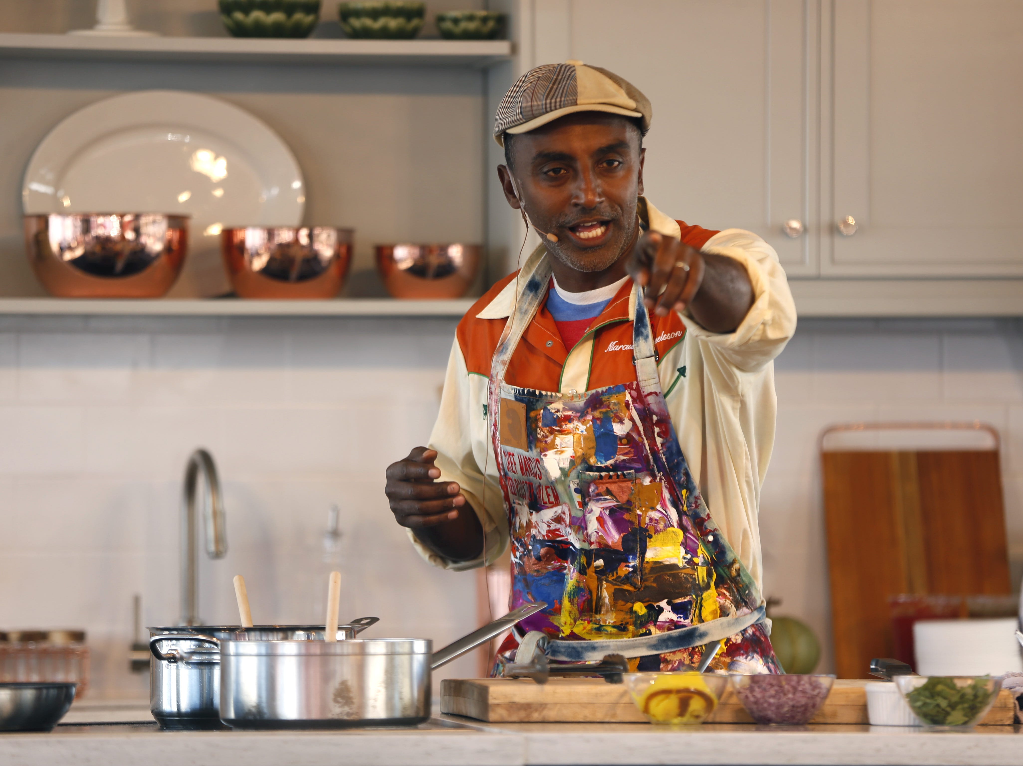 Chef Marcus Samuelsson presents a cooking demonstration during the azcentral Wine & Food Experience at WestWorld of Scottsdale, Ariz. on Saturday, Nov. 3, 2018.