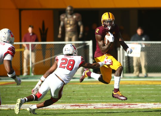 Arizona State wide receiver Brandon Aiyuk runs against Utah in the second half on Nov. 3 at Sun Devil Stadium.
