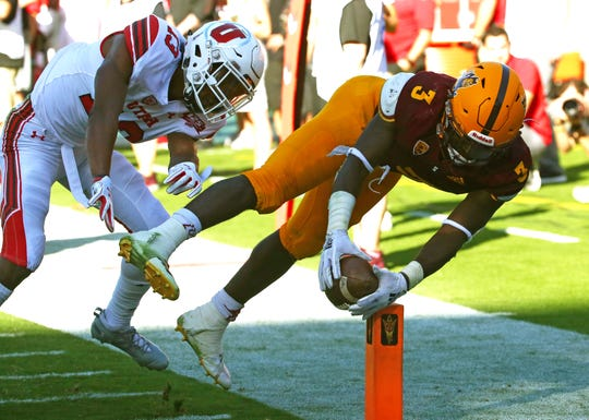 Arizona State's Eno Benjamin dives for a touchdown against Utah but the play was called back due to an offensive penalty in the second half on Nov. 3 at Sun Devil Stadium.