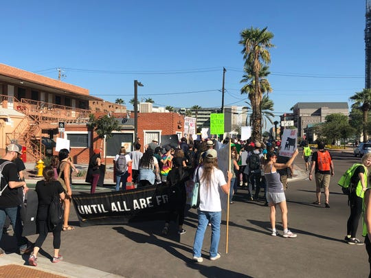 Hundreds of protesters line the streets to advocate for the Animal Liberation Movement and pro-veganism in downtown Phoenix on Nov. 3.