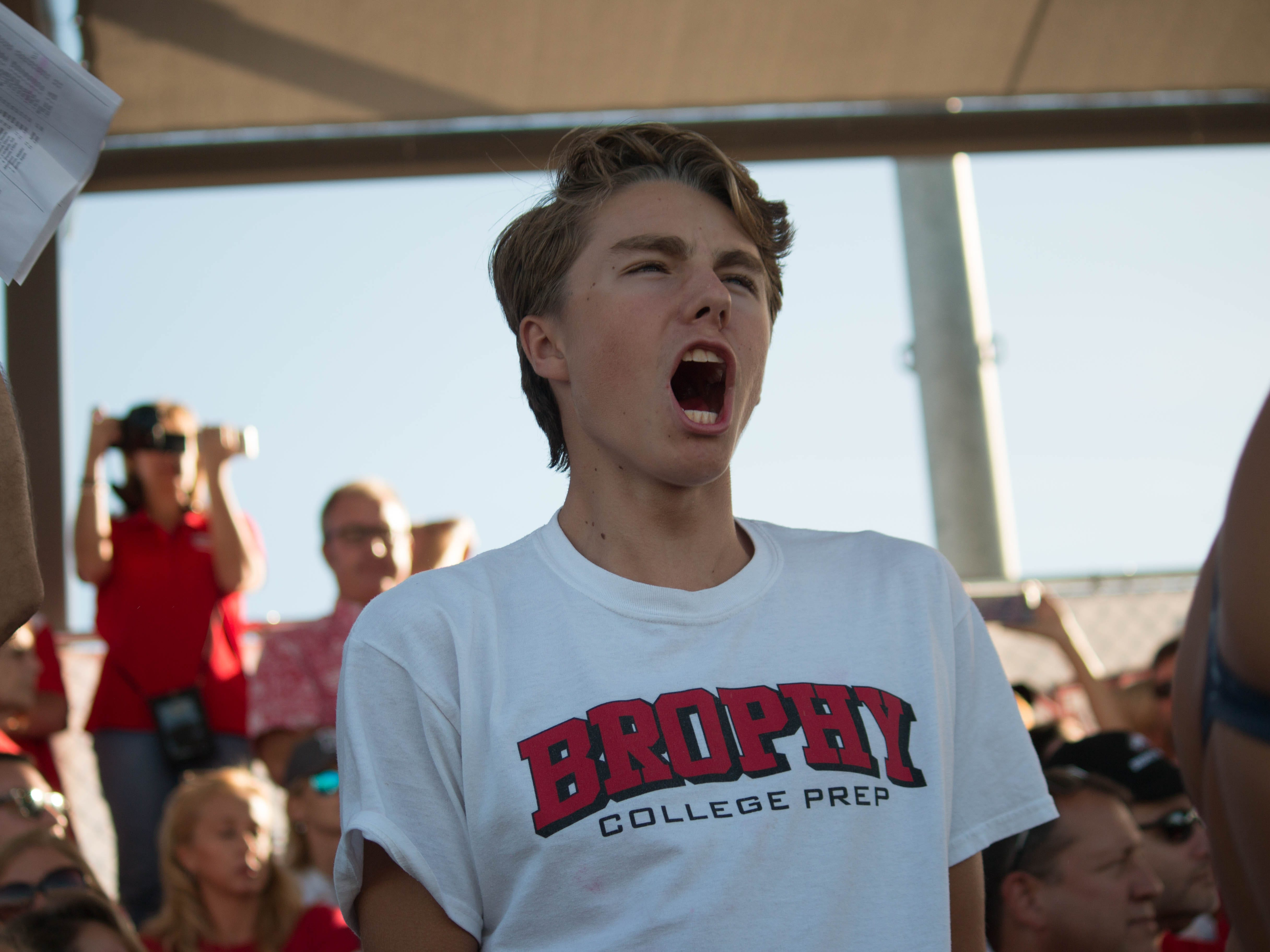 Brophy fans cheer at the 2018 Arizona State Division I Swimming Championships. Carly Henry/azcentral