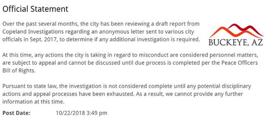 The statement posted on the City of Buckeye's website on Oct. 22, 2018.