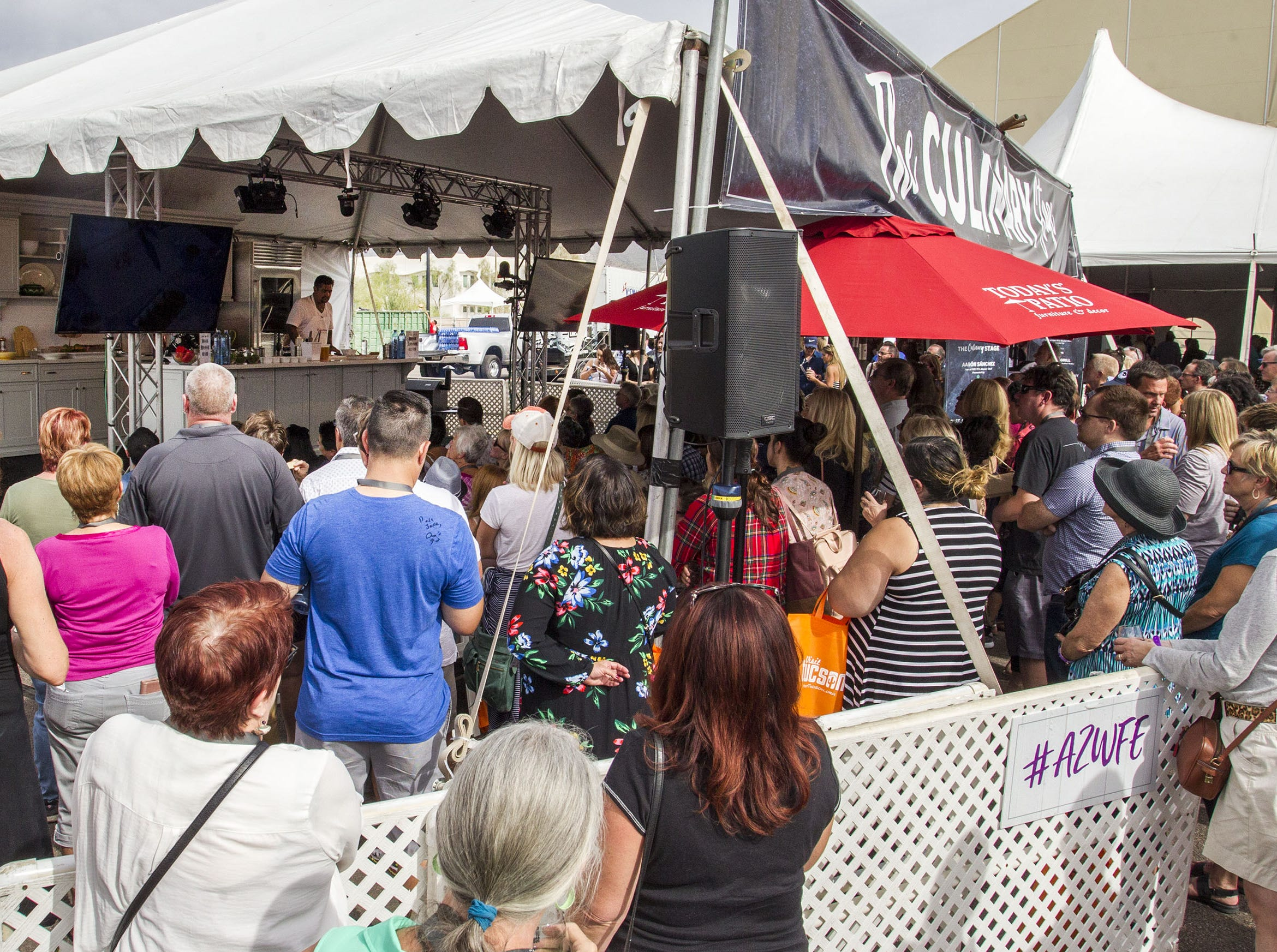 Standing room only for Chef Aarón Sánchez as he does a cooking demonstration on the Culinary Stage during the azcentral Wine & Food Experience at WestWorld of Scottsdale, Sunday, Nov. 4, 2018.