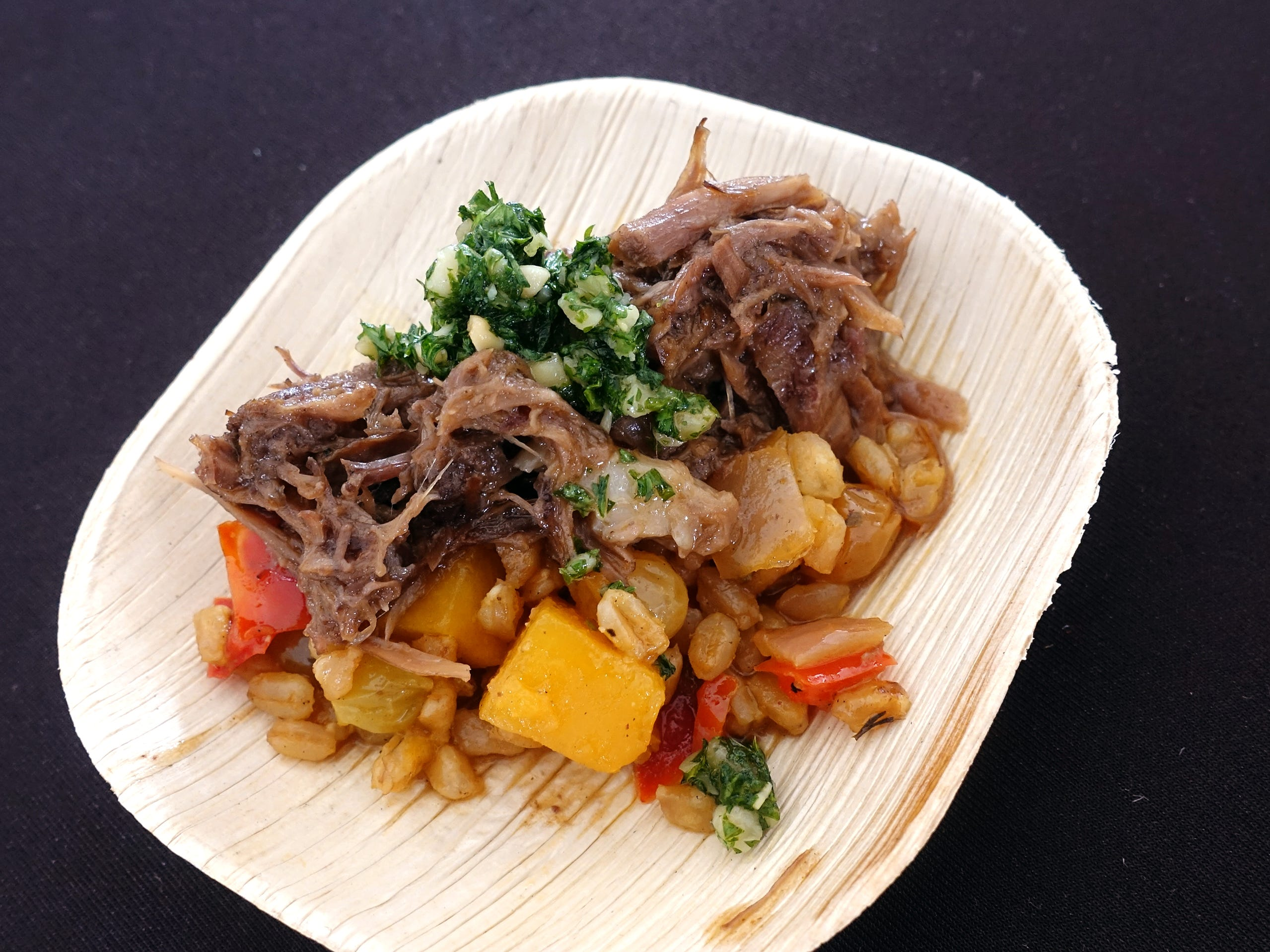 Braised lamb shank with butternut squash caponata, Tuscan farro and pine nut gremolata from The Boulders at azcentral Wine & Food Experience 2018 at WestWorld of Scottsdale, Sunday, Nov. 4, 2018.