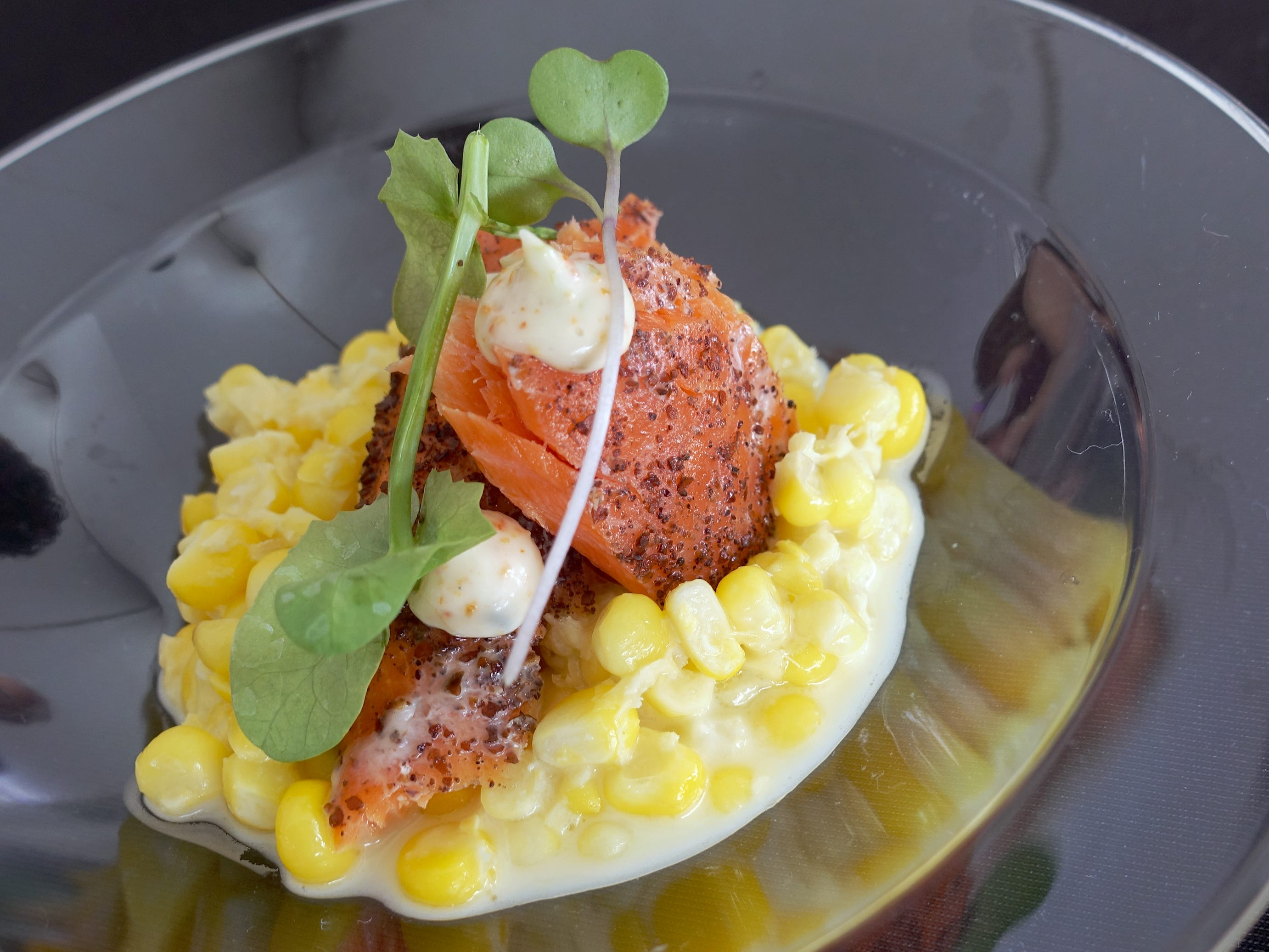 Organic ocean smoked sockeye with creamed local corn and togarashi aioli from Cartwright's Modern Cuisine at azcentral Wine & Food Experience 2018 at WestWorld of Scottsdale, Sunday, Nov. 4, 2018.