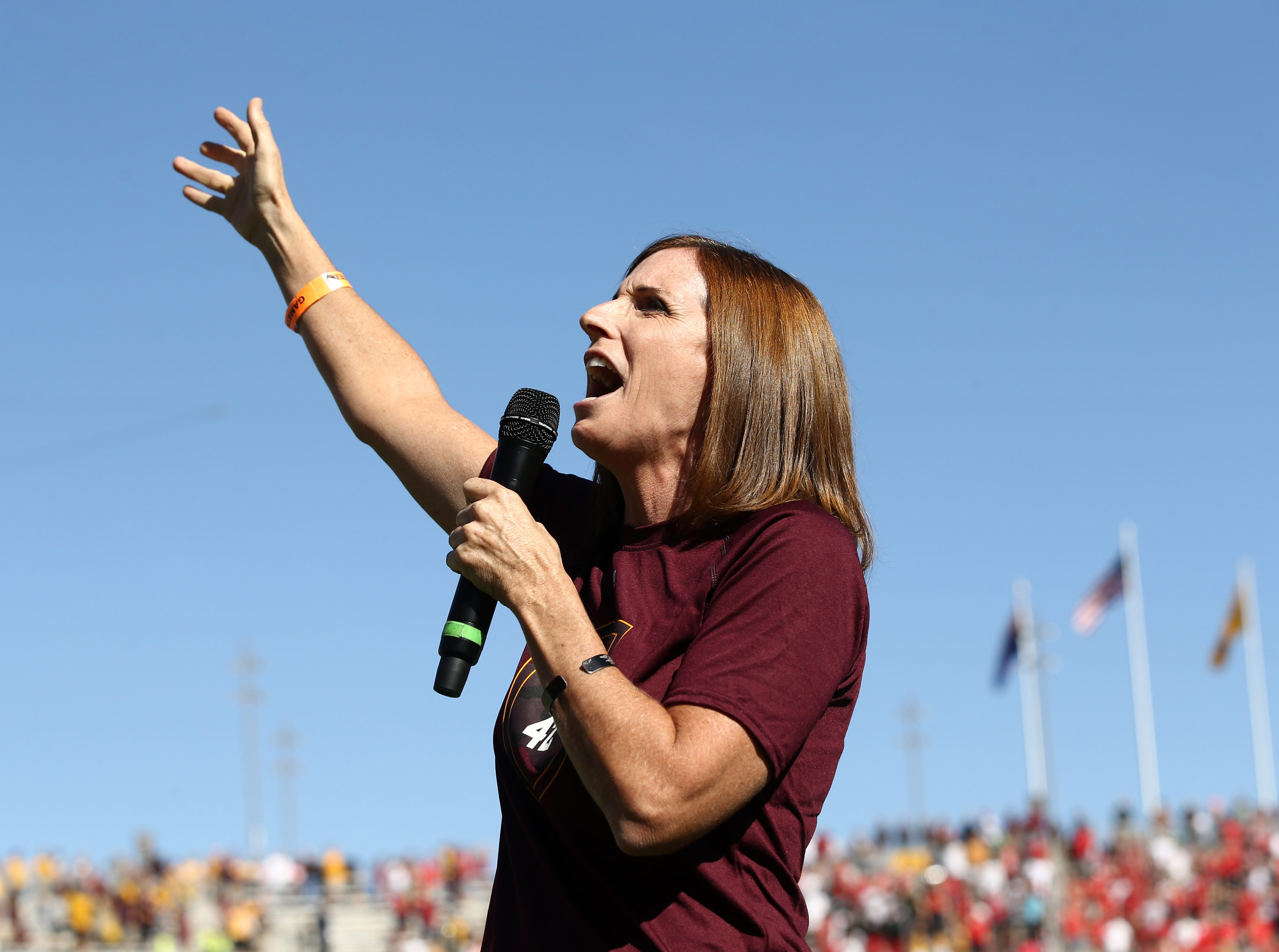 U.S. Rep. Martha McSally, R-Ariz., sings the national anthem at the Utah vs. ASU game on Nov. 3 at Sun Devil Stadium. McSally is running against Democrat Krysten Sinema for the U.S. Senate.