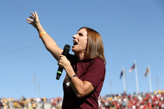 U.S. Rep. Martha McSally, R-Ariz., sings the national anthem at the Utah vs. ASU game on Nov. 3 at Sun Devil Stadium. McSally is running against Democrat Krysten Sinema for the U.S. Senate.