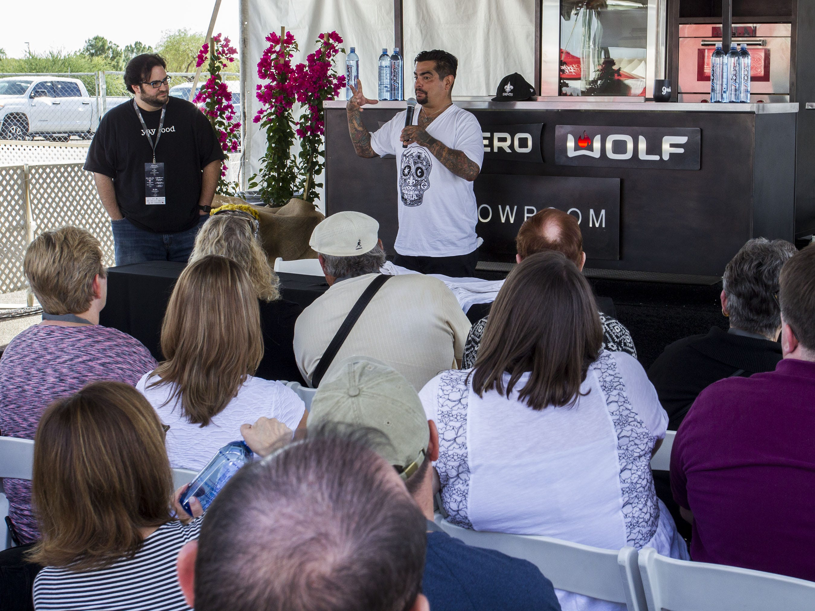 Chef Aarón Sánchez answers questions during the azcentral Wine & Food Experience at WestWorld of Scottsdale, Sunday, Nov. 4, 2018.