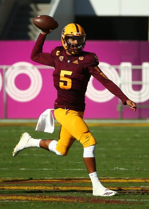 Arizona State's Manny Wilkins throws a pass against Utah in the second half on Nov. 3 at Sun Devil Stadium.