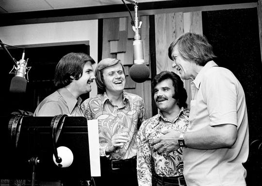 The Stamps Quartet featured (from left) Bill Baise, Ed Enoch, Dave Rowland and J.D. Sumner. The gospel quartet, which performed and recorded with Elvis Presley, is seen recording in 1973.