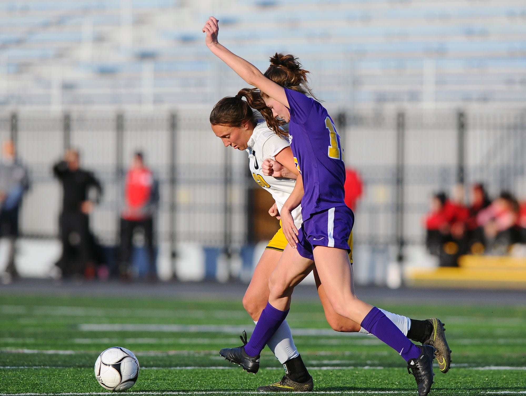 Boiling Springs' Jacelynne Kuhns (12) steps in front of Elco's Ryelle Shuey (10) during the first half of play.Shuey was given a free kick as a result of the play and scored the only goal of the game.