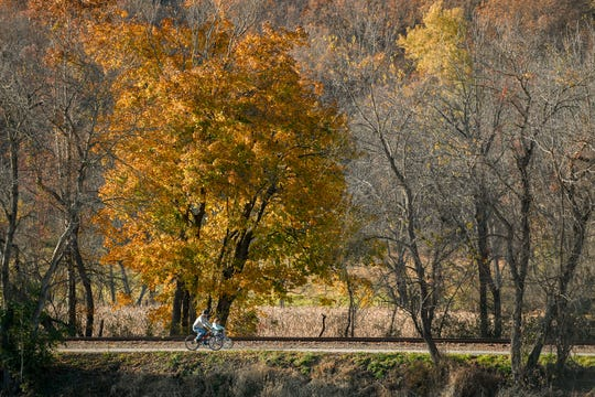 Riding the York County Heritage Rail Trail in Springfield Township, Sunday, November 4, 2018. John A. Pavoncello photo