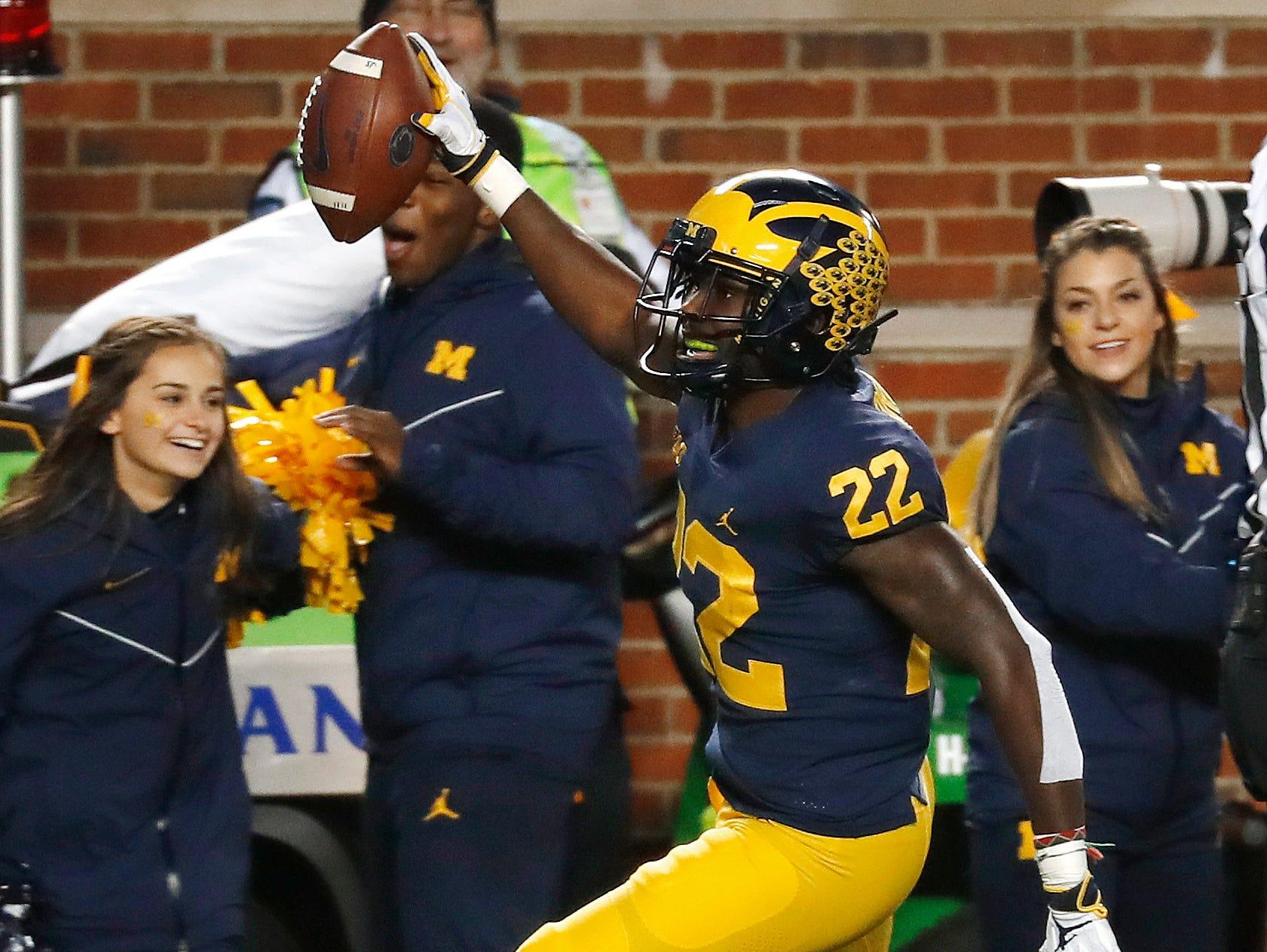Michigan defensive back David Long (22) celebrates his interception against Penn State in the second half of an NCAA college football game in Ann Arbor, Mich., Saturday, Nov. 3, 2018. (AP Photo/Paul Sancya)